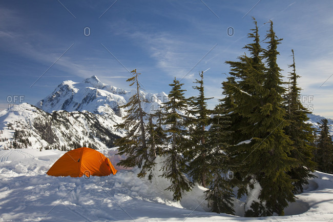 Camping tent in winter in North Cascades National Park, Washington State, USA