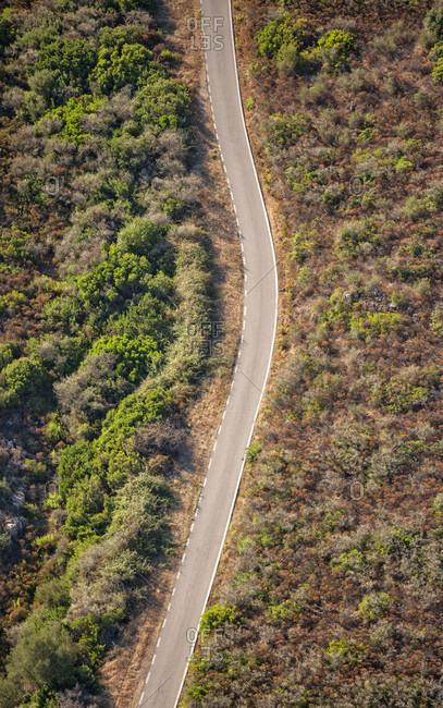 Aerial view of road near Porto Rotondo, Olbia, Sardinia, Italy