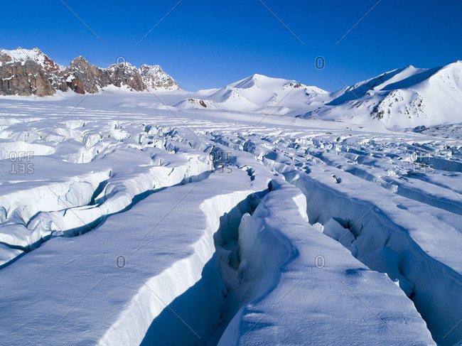 Crevasses in glacier, Krossfjorden, Spitsbergen, Svalbard and Jan Mayen, Norway