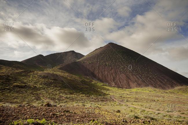 Scenery with Gairia Volcano, Fuerteventura, Canary islands, Spain
