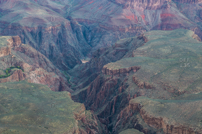 Aerial view of crevasses in Grand Canyon National Park, Arizona, USA