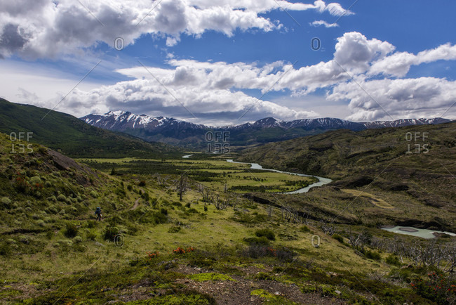 Scenery with river and mountains, Patagonia