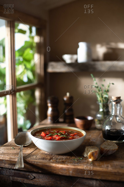 Tomato gazpacho summer soup with cucumber and thyme