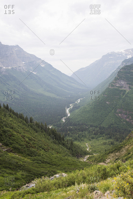 River running though mountain valley