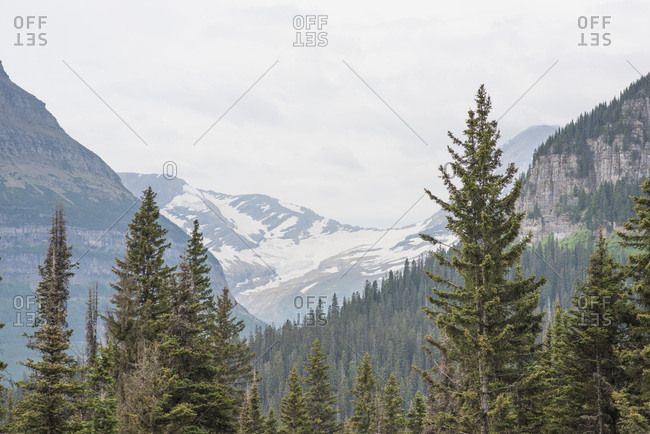 Snow covered hills in Glacier National Park