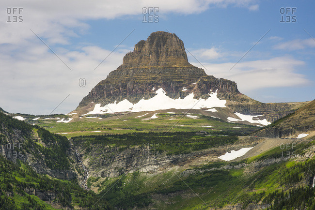Snow on mountainside in Glacier National Park