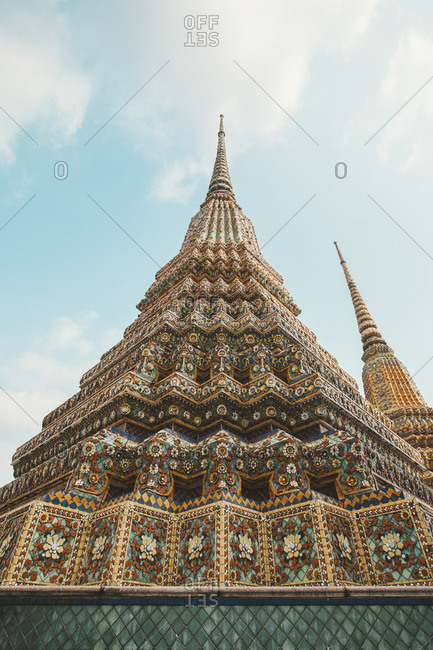 Bangkok, Thailand - February 16, 2016: Low angle view of pagoda against sky