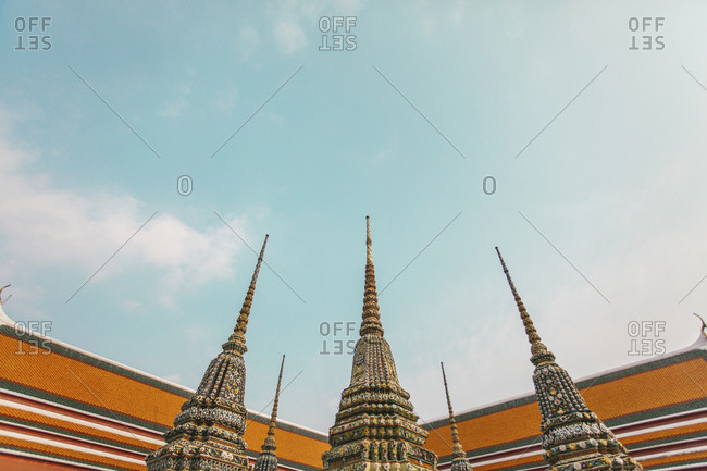 Bangkok, Thailand - February 16, 2016: Low angle view of temples against sky