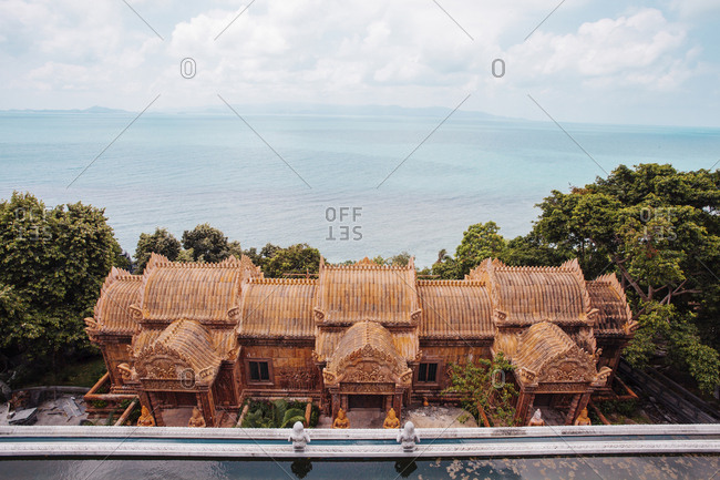Ko Pha-ngan, Thailand - March 7, 2016: High angle view of temple by sea