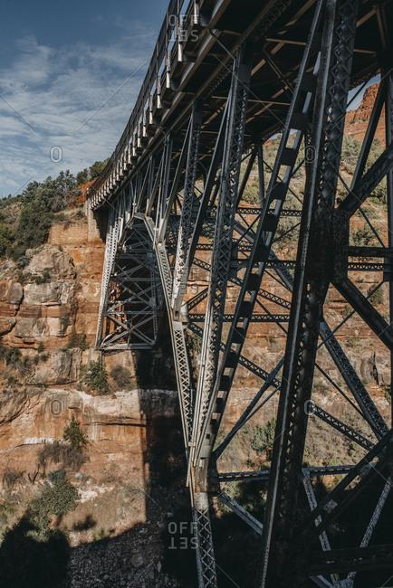 Bridge on rock formations at desert