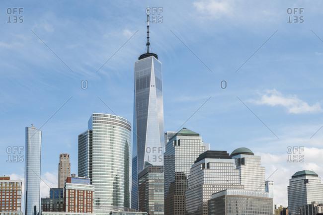 Manhattan buildings against sky in city