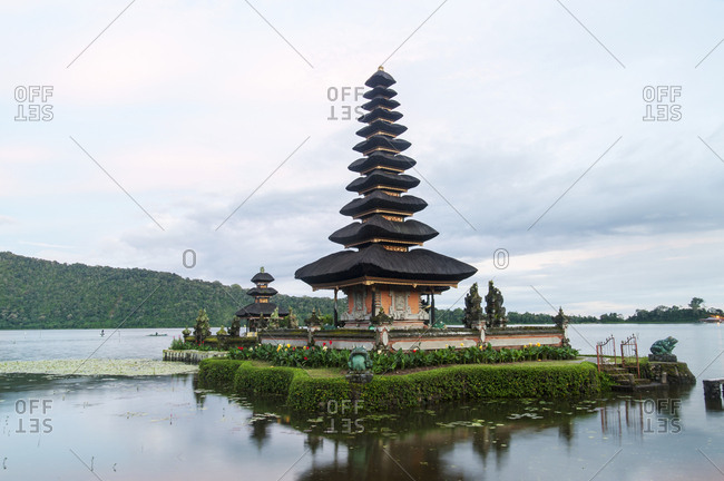 Bratan Temple in the middle of lake in Bali, Indonesia
