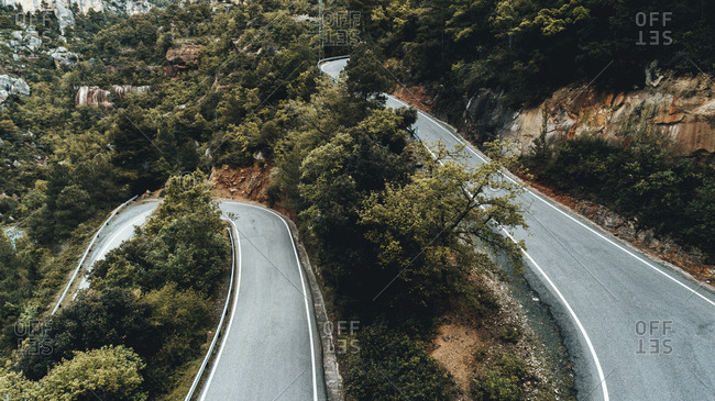 Elevated view of curving scenic highway