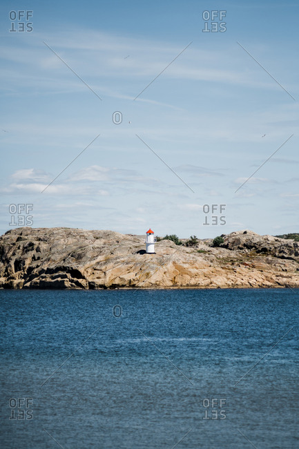 Small lighthouse on the coast of Sweden
