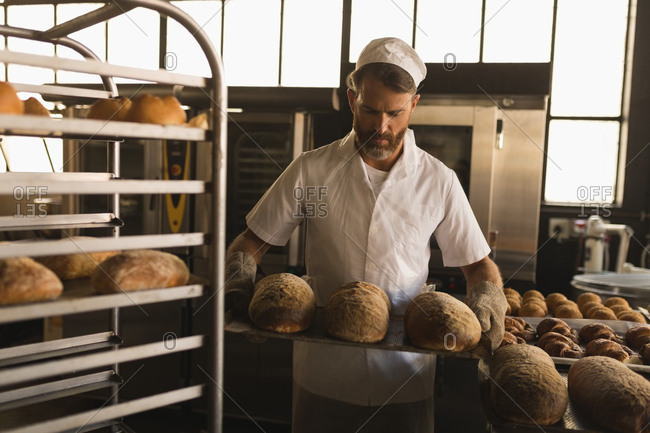 Male baker holding a tray of baked breads in bakery shop