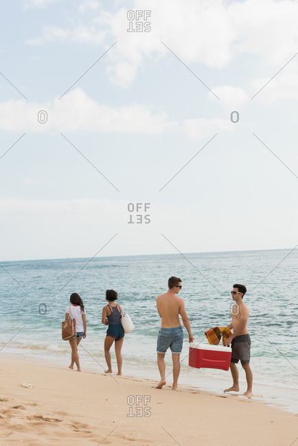 Male friends carrying portable cooler in the beach on a sunny day