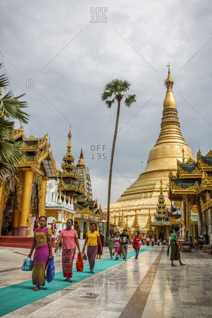 July 29, 2017: Dusk at Shwedagon Pagoda in Yangon, Myanmar