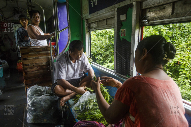 July 26, 2017: Man and woman cleaning herbs and vegetables while riding Yangon Central Railway, Yangon, Myanmar