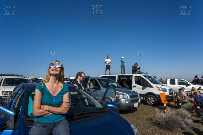 August 21, 2017: People watching solar eclipse, August 8, 2017, Maupin, Oregon, USA