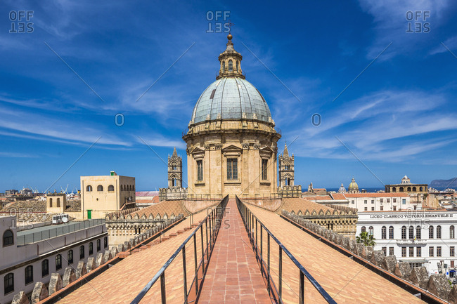 Palermo, Sicily, Italy - May 17, 2014: Cattedrale Metropolitana della Santa Vergine Maria Assunta (Metropolitan Cathedral of the Assumption of Virgin Mary) or Cattedrale (cathedral) di Palermo, the dome and the roofs