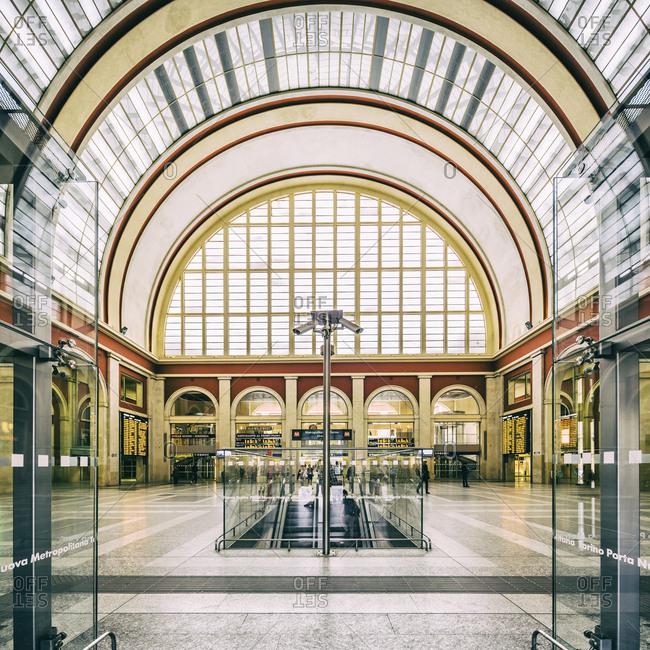 Turin, Piedmont, Italy - May 16, 2018: Stazione (railway station) Torino Porta Nuova