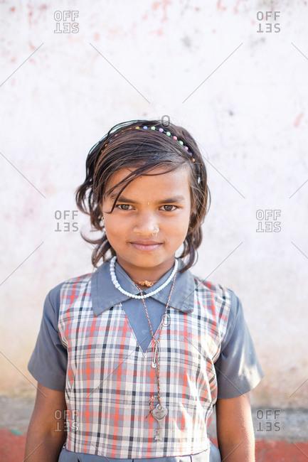 Saputara, India - November 24, 2016: Portrait of a young Indian girl