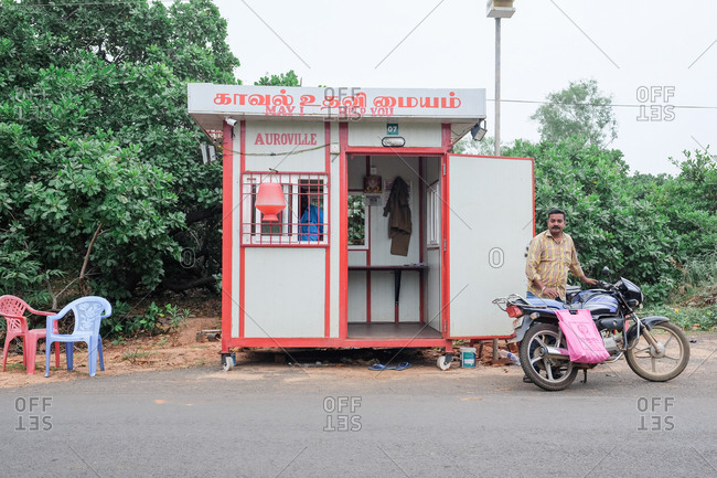 Pondicherry, India - December 6, 2016: Roadside booth
