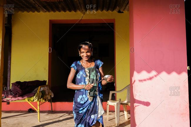 Saputara, India - November 24, 2016: Portrait of an Indian girl wearing a floral dress