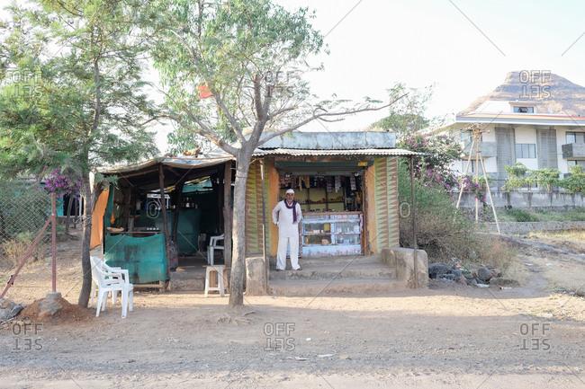 Saputara, India - November 24, 2016: Man working at small shop