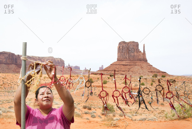 Navajo Tribal Nation Park, Utah - May 6, 2018: Navajo woman selling dream catchers outside