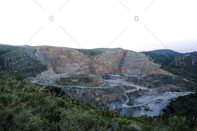 Open pit mine quarry in the natural area of Garraf, Barcelona, Catalonia, Spain