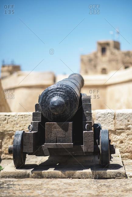 Cannon at the Citadel in Gozo in Malta