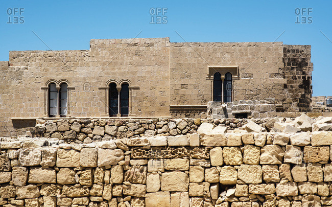 Stone fortress exterior at the Citadel in Gozo in Malta