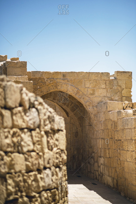 Stone walls at the Citadel in Gozo in Malta