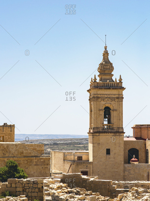 Tower at the Cathedral of the Assumption, Gozo, Malta