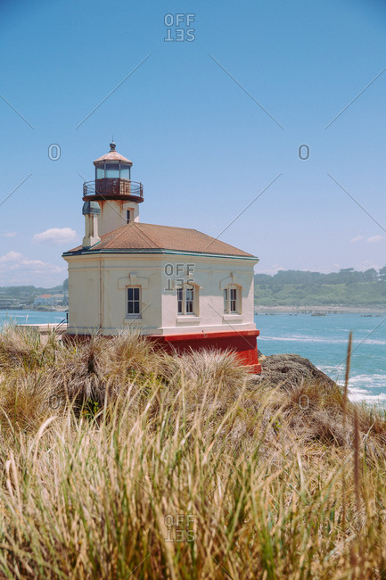 Historic Coquille River Light lighthouse, part of Bullards Beach State Park near Bandon along the southern Oregon coast