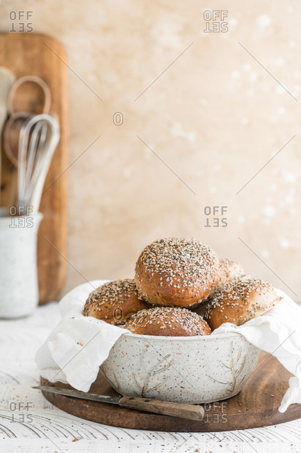 Whole Wheat Bread Rolls topped with sesame seeds.