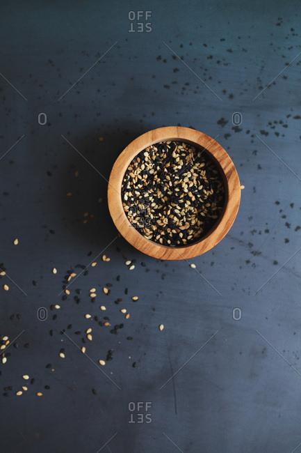 Sesame seeds in wood bowl