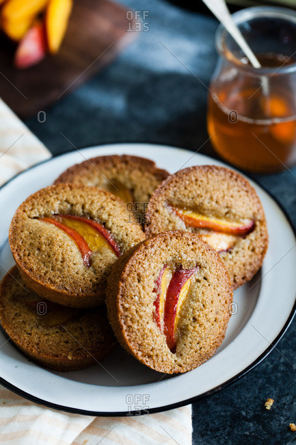 Nectarine financier muffins