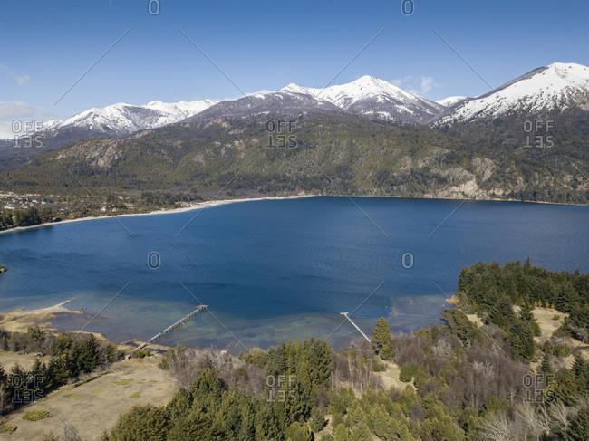 Cerro Bella Vista mountains and Lake Moreno on a sunny day