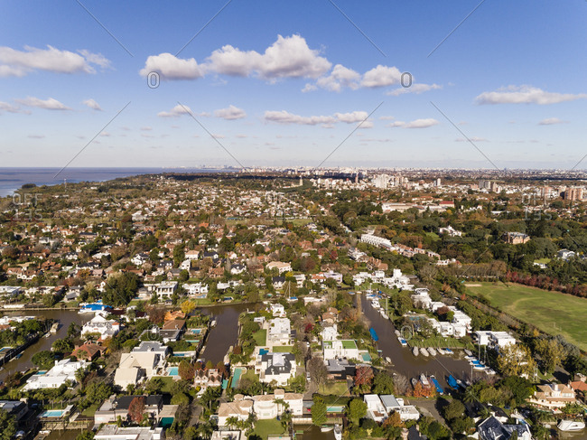 Residential neighborhood in Buenos Aires, Argentina on a sunny day
