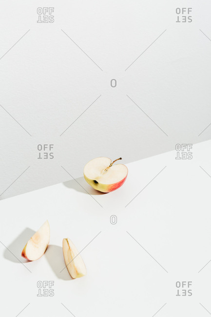 Sliced apple on white background