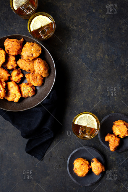 Vegan lentil fritters served with iced tea