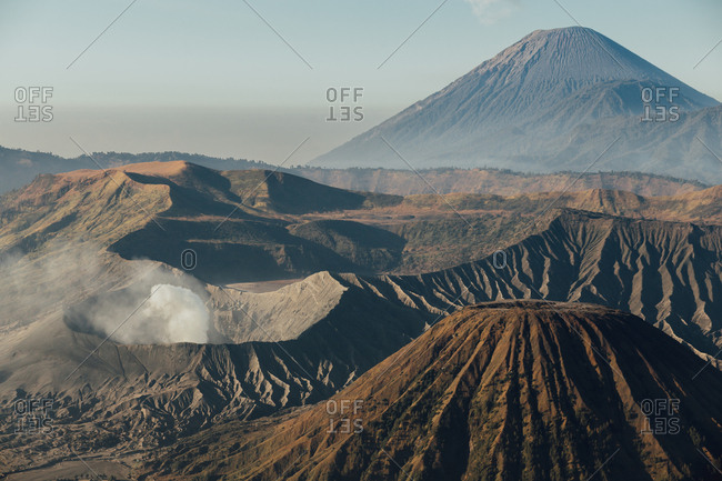 View over caldera and other volcanic features towards Mount Bromo