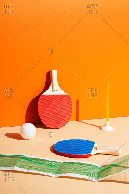 Ping pong set on orange background