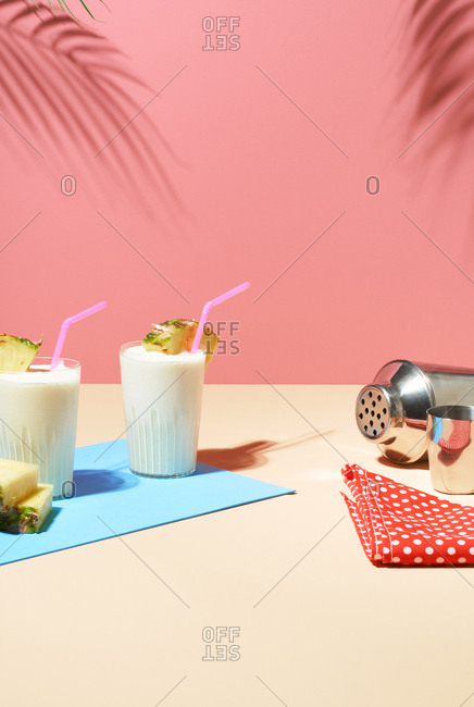 Summer drinks on pastel background