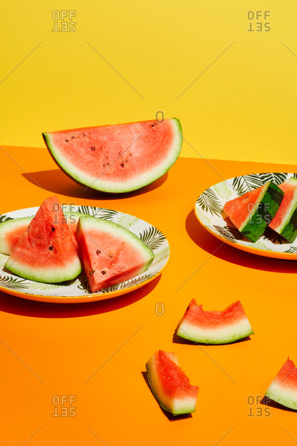 Watermelon on orange and yellow background