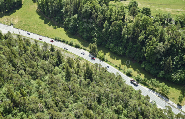 Austria- Tyrol- Aerial view of country road