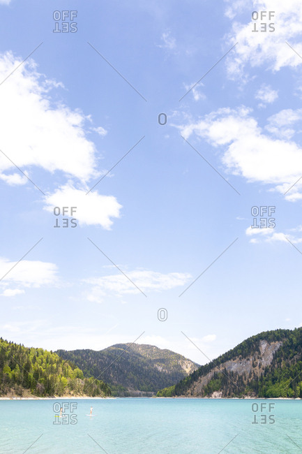 Germany- Bavaria- Sylvenstein Dam- View to Karwendel mountains in Austria