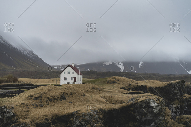 Iceland- North of Iceland- landscape with single white house